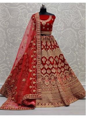 Ethnic Designer Embroidery Lehenga Choli In Red