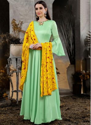 Ethnic Green Maslin Cotton Anarkali Suit