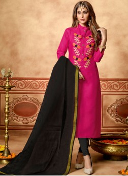 Ethnic Hot Pink Embroidered Churidar Designer Suit