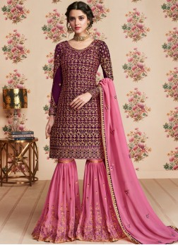 Ethnic Lace Faux Georgette Designer Pakistani Suit