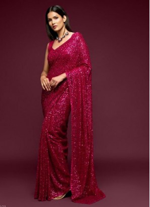 Ethnic Look Sequence Embroidery Saree In Magenta