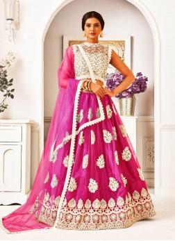 Ethnic Look Thread Work Net Lehenga Choli In Pink