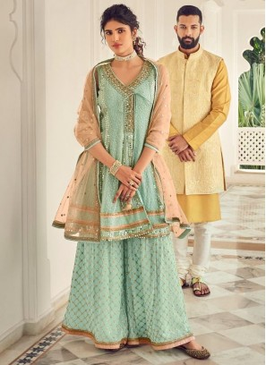 Ethnic Mirror Embroidery Salwar Suit With Palazzo In Cadet Blue - Peach