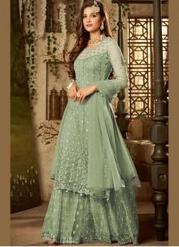 Ethnic Net Green Resham Designer Palazzo Suit