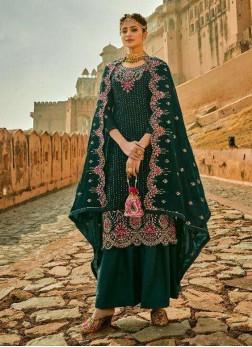 Exactness Embroidery Work On Georgette Pakistani Wear Salwar Suit In Green