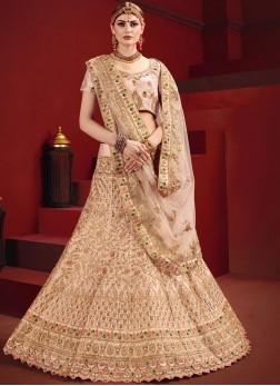 Exceeding Dori Work Satin Pink Designer Lehenga Choli