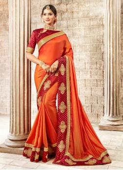 Exceeding Embroidered Satin Silk Traditional Designer Saree