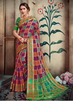 Excellent Abstract Print Festival Designer Traditional Saree