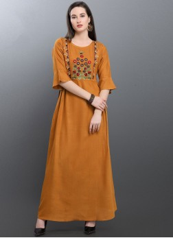 Excellent Embroidered Mustard Party Wear Kurti