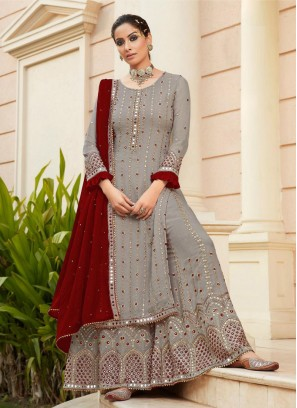 Excellent Mirror Work Wedding Wear Salwar Suit In Grey - Maroon