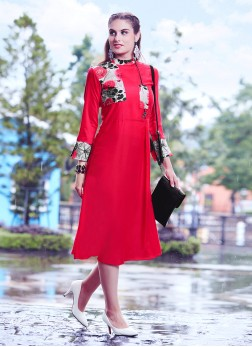 Excellent Red Print Party Wear Kurti