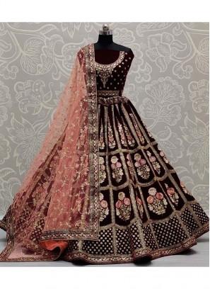Excellent Sequnice Work On Velvet Bridal Lehenga Choli In Dark Maroon
