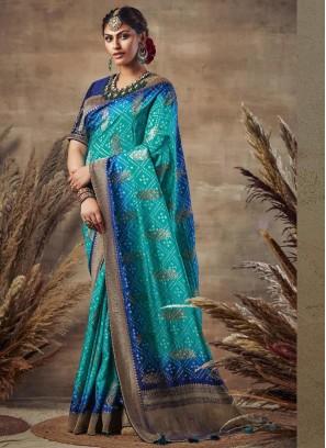 Excellent Sky Blue & Blue Siroski Diamond Pallu Pure Soft Silk