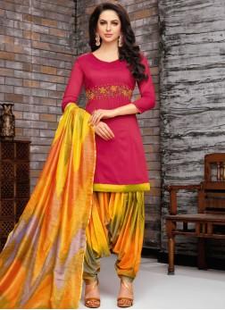 Exceptional Art Silk Hot Pink Designer Patiala Suit