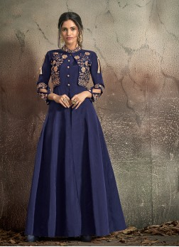 Exceptional Navy Blue Art Silk Designer Gown