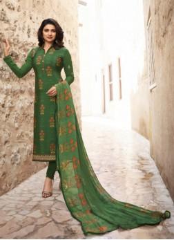 Exceptional Prachi Desai Green Faux Crepe Churidar Designer Suit