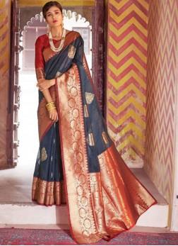 Exciting Art Silk Grey Traditional Designer Saree