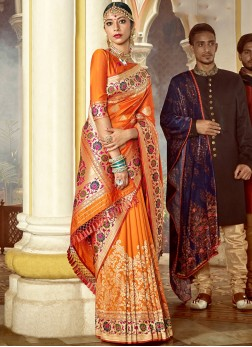 Exciting Art Silk Weaving Orange Designer Saree