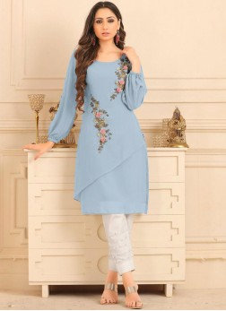 Exciting Blue Fancy Party Wear Kurti