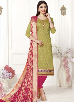 Exciting Fancy Fabric Green Churidar Suit