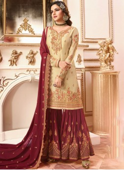 Exciting Faux Georgette Embroidered Designer Pakistani Suit
