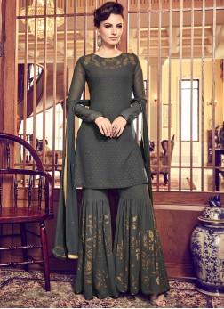 Exciting Georgette Black Designer Palazzo Suit