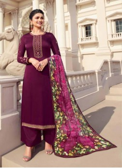 Exclusive Embroidery Georgette Pakistani Suit In Wine