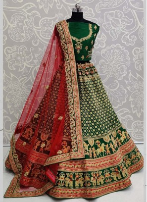 Exclusive Green Designer Bridal Lehenga Choli with Red Dupatta