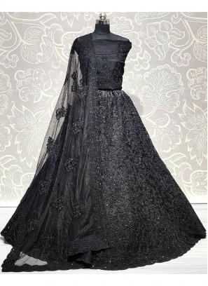 Exclusive Lehenga Choli Attractive and Brilliant Beautiful Work of Heavy Net Black Lehenga Choli with Zircon and Embroidery Work