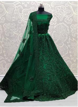 Exclusive Lehenga Choli Attractive and Brilliant Beautiful Work of Heavy Net Green Lehenga Choli with Zircon and Embroidery Work