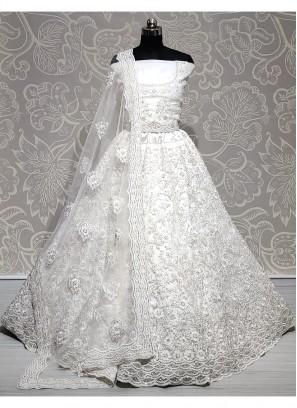 Exclusive Lehenga Choli Attractive and Brilliant Beautiful Work of Heavy Net White Lehenga Choli with Zircon and Embroidery Work