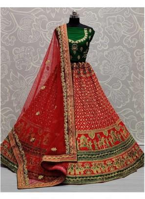Exclusive Red - Green Designer Bridal Lehenga Choli With Red Dupatta