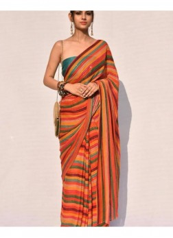 Exclusive Sequins Work , Floral Print Lariya Patten Stripes In Multi-Colour