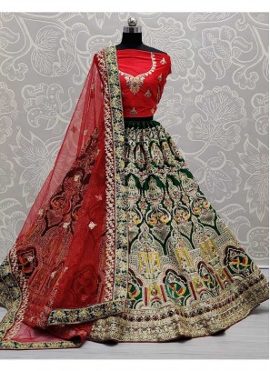Exclusive Silk Wedding Lehenga Choli In Red And Green