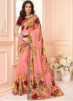 Exotic Multi Colour Abstract Print Faux Georgette Printed Saree
