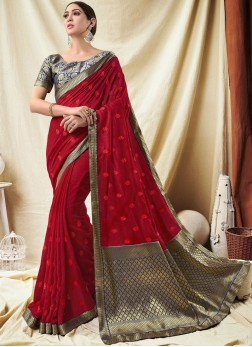 Exotic Red Lace Silk Classic Saree