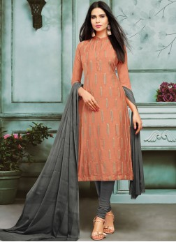 Exquisite Chanderi Cotton Embroidered Rust Churidar Designer Suit