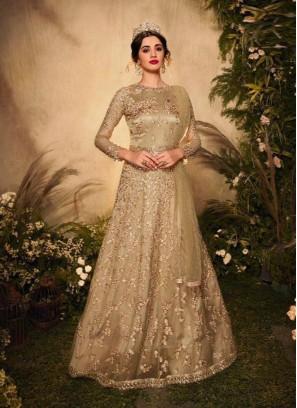 Exquisite Cream Embroidery Anarkali With Designer Dupatta