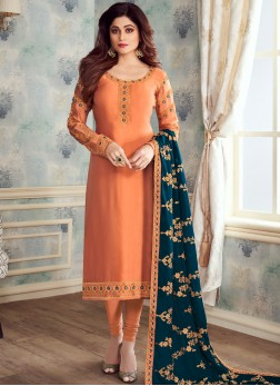 Exquisite Embroidered Georgette Satin Churidar Salwar Kameez