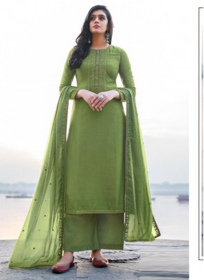 Exquisite Embroidery Georgette Pant Style Salwar Suit In Firozi