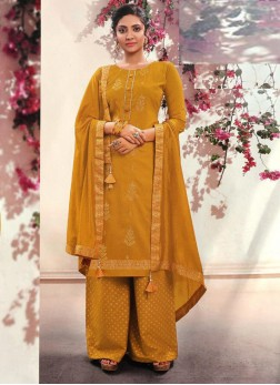 Exquisite Fancy Wear Palazzo Style Salwar suit On Mustard