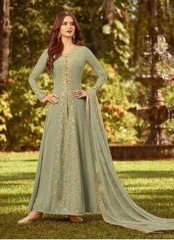 Exquisite Green Festival Designer Salwar Kameez