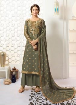 Exquisite Green Mehndi Designer Palazzo Salwar Kameez