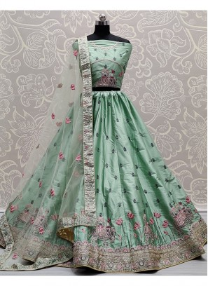 Exquisite Light Sea Green Flaired Sober Work Wedding Girlish Lehenga Choli