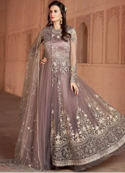 Exquisite Net Resham Lavender Floor Length Anarkali Suit