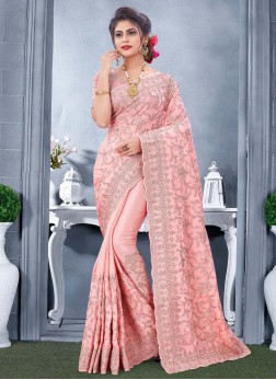 Exquisite Party Wear Resham & Coding Work On Saree In Salmon Pink