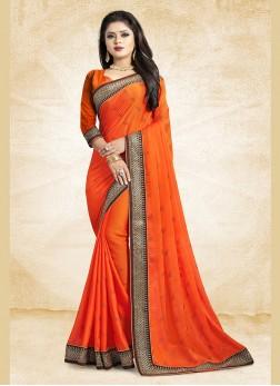 Exquisite Patch Border Georgette Satin Orange Classic Designer Saree