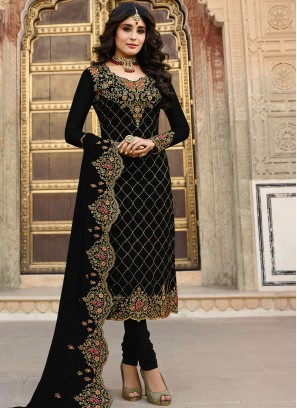 Embroidered Black Kritika Kamra Churidar Designer Suit