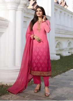 Extraordinary Embroidery Work On Neck Designer Salwar Suit In Pink - Rani