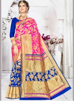 Eye-Catchy Art Silk Blue and Pink Half N Half  Saree